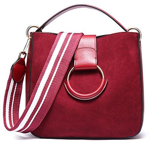 SAIERLONG Neues Damen Schwarz Echtes Leder Damen Handtaschen Schultertaschen Rotwein jnv4mrB