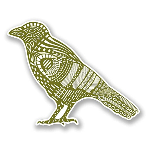 2 x 25cm/250mm Green Bird Raven Crow Vinyl Sticker Decal Laptop Travel Luggage Car iPad Sign Fun #6082 ()