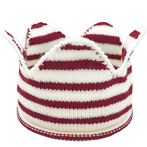 Lujuny Baby Knit Crown Hat - Crochet Headband Cap for Birthday Tooth Party Costume Photoshoot (Stripe RED) -