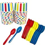 Circus Birthday Party Themed Ice Cream Kit - 8 Ounce Striped Paper Treat Cups - Plastic Spoons - 24 Each - Red, Blue, Yellow, White Ice Cream Sundae Kit