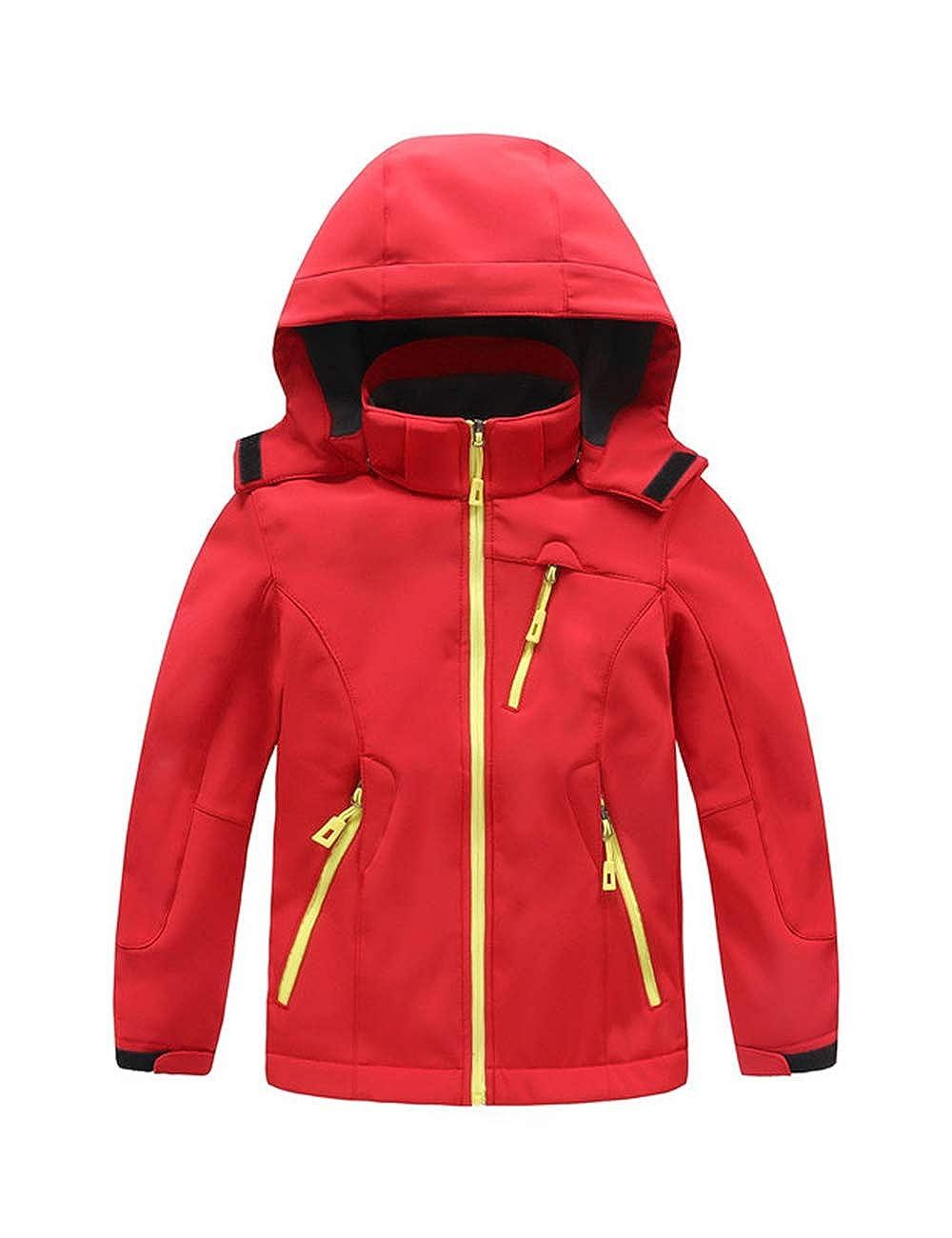BESBOMIG Kids Children Softshell Coat Jacket Hood Windbreaker Soft Fleece Lining