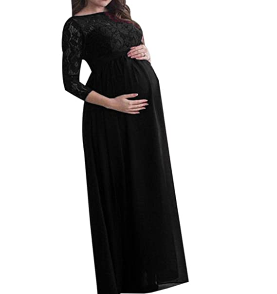 61a2fc85c4c07 Women Maternity Long Maxi Dress - Lady Lace Gown Elegant Pregnancy  Photography Robe Solid Color Evening
