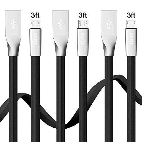 AOFU Micro USB Cable,3Pack 3FT Premium Flat Noodle High Speed USB to Micro USB Fast Charging Cord Android Charger for Samsung Galaxy S7 Edge/S6/S4/Note 5/Note 4(Black)