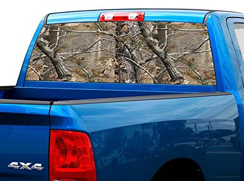 P527 Camo Tree Real Tint Rear Window Decal Wrap Graphic Perforated See Through Universal Size 65