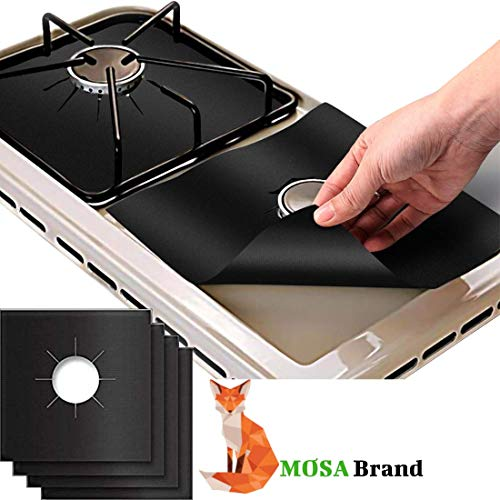 MOSA Gas Stove Burner Cover Square 4 Pack. Stove Range Top Protectors. Top Liner Stove Easy Clean. Double Thickness 0.2mm. Non Stick Cover To Protect Stove Burner and Keep it Clean.
