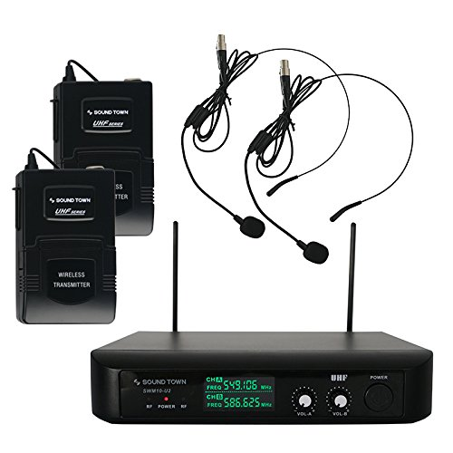Sound Town Professional Dual-Channel UHF Headset Wireless Microphone System with LED Display, 2 Headset mics, 2 Bodypack Transmitters (Professional Vhf Wireless Headset Microphone)