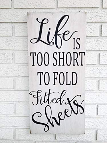 Amazon Com Adonis554dan Life Is Too Short To Fold Fitted Sheets Signs Laundry Room Signs Funny Laundry Signs Laundry Humor Rustic Wood Signs Laundry Room Decor Home Kitchen