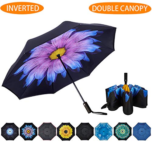 NOORNY Inverted Umbrella Double Layer Automatic Folding Reserve Umbrella Windproof UV Protection for Rain Car Travel Outdoor Men Women Purple Flower