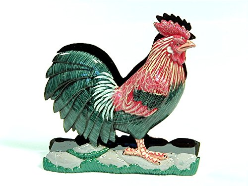 LX Hand Painted Red Rooster Napkin Letter Holder 5.5