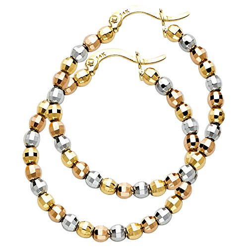 14k Tri Color Gold 3mm Thickness Beaded Hoop Earrings (30mm Diameter) by GoldenMine Fine Earrings