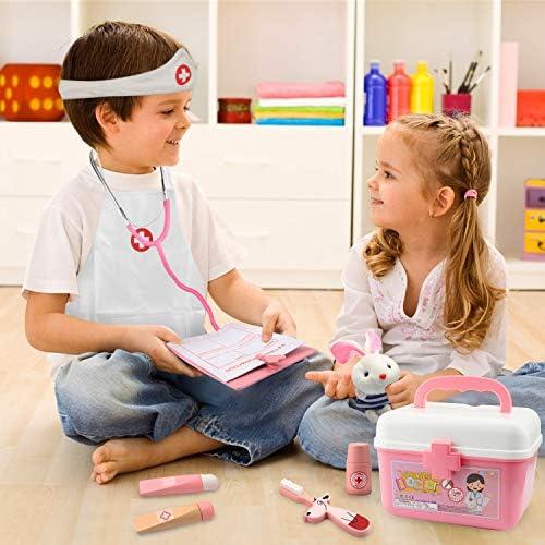 Kit Medico 43 Pezzi Rosa Valigetta Dottore Bambini con Stetoscopio Gioco in