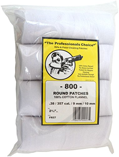 The Professional's Choice Pistol/Rifle Cotton Flannel 2 3/4-Inch Round Gun Cleaning Patches (800-Pack), .38/.357-Calibre/9mm/10mm