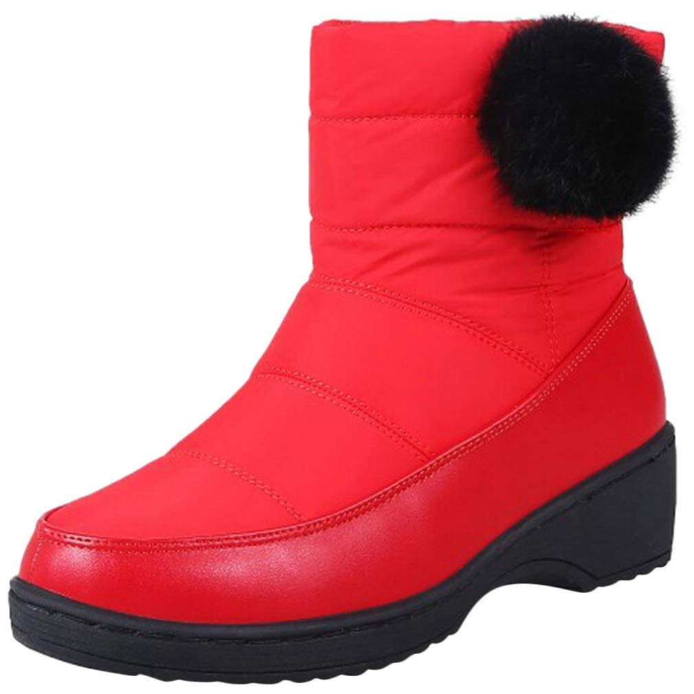 Red Webb Perkin Women Wedges Low Heels Comfort Waterproof Snow shoes Plush Warm Winter Boot Lady Mid Calf Boots