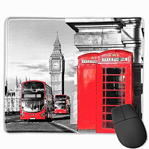 London Office Mouse Pad London Telephone Booth in The Street Traditional Local Cultural Icon England UK Retro Custom Mouse pad 11.8