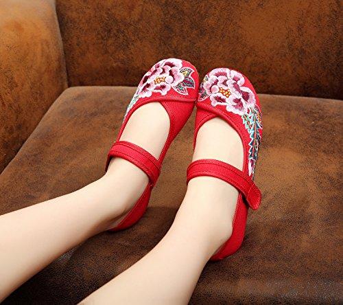 XHX Zapatos bordados, lino, lenguado de tendón, estilo étnico, zapatos femeninos, moda, cómodos zapatos de baile Red