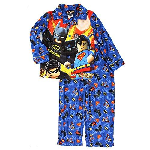 Lego DC Super Heroes Boys Flannel Pajamas (Coat Style Pajamas)