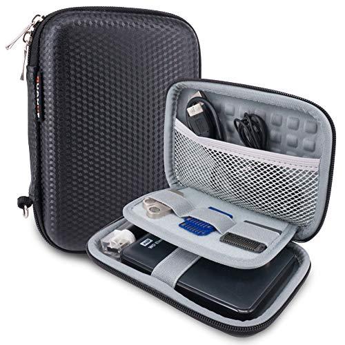 Wolven Universial Portable Waterproof Shockproof Electronic Accessories Organizer Holder/USB Flash Drive Case Bag, Black EVA