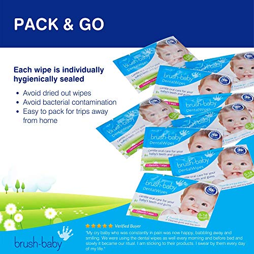 51H5X3AuVQL - Brush Baby Teething Relief Dental Wipes For Ages 0-Toddler - Naturally Eliminate Teething Pain, Prevent Tooth Decay And Sour Milk Breath - 28 Finger Wipes (2-Pack)
