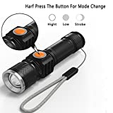 KUNSTWORKER Mini USB Rechargeable LED Flashlight, Zoomable LED Handheld Flashlights with 3 Mode , Tactical Flashlight with 2000mAH recharger Battery