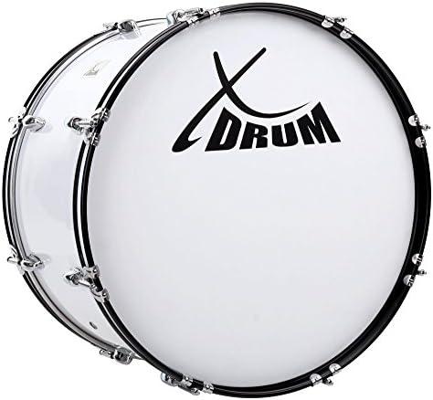 """XDrum MBD-226 Marsch Bass Trommel, Fußball Pauke 26"""" x 12"""" (10,5 kg, 4 Ösen, Spannschrauben, inkl. Paar Schlägel, Tragegurte, Stimmschlüssel) weiß"""