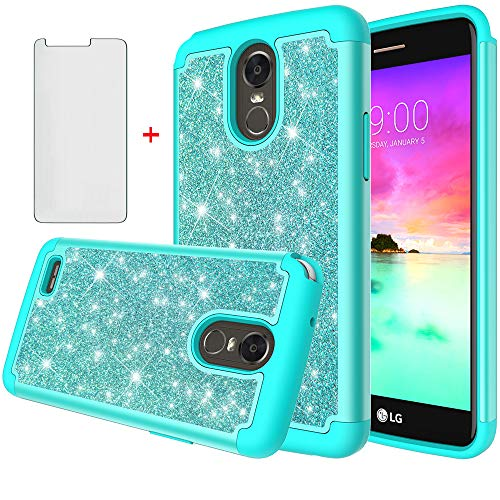 (Asuwish Phone Case for LG Stylo 3 and Stylo3 Plus with Tempered Glass Screen Protector Cover Cell Accessories Bling Glitter Heavy Duty Hybrid Protective LGstylo3 3+ Stylus 3 LS777 LGL84VL L84VL Women)
