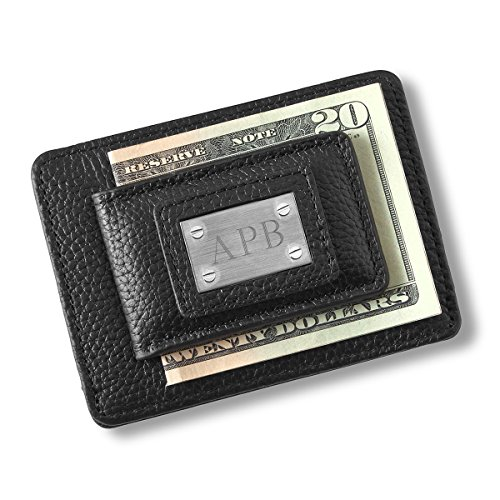 Personalized Studded Leather Money Clip Credit Card Holder Black Wallet