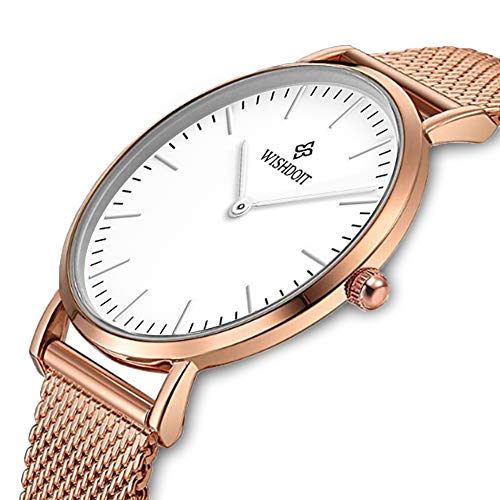 Women's Rose Gold Watch Classic Minimalist Analog Quartz Ladies Wrist Watches Simple Casual Watches for Women Stainless Steel Mesh Band Couple Gift