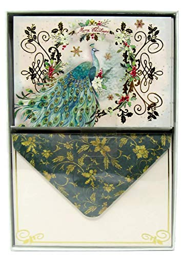 Punch Studio Frost Green Peacock Christmas Note Cards 62079, Stack of 12