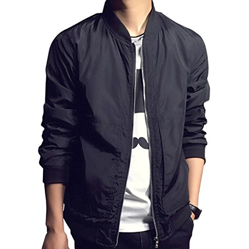 Men Fashion Classic Collarless Bomber Jacket Slim Bike Motorcycle Coat Outwear (US Size XXS(Asian Size L), (Mens Bomber Jacket)