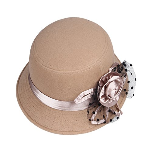 Smile YKK Women Retro Mesh Flower Wool Cloche Cap Bowler Hat Khaki