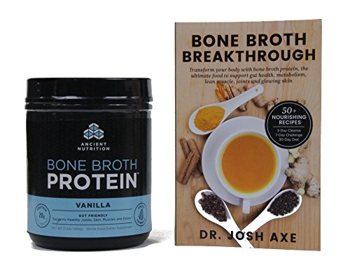 Ancient Nutrition - Bone Broth Protein Vanilla plus Broth Breakthrough Book Bundle -1ct
