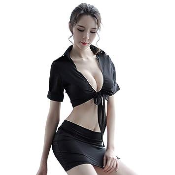 AUWU Dos piezas de Camisa atractiva de las Mujeres Maestro Juego de Roles muchacha del Traje
