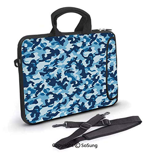 - 17 inch Laptop Case,Military Infantry Marine Troops Costume Pattern Vibrant Color Palette Surreal Decorative Neoprene Laptop Shoulder Bag Sleeve Case with Handle and Carrying & External Side Pocket,fo