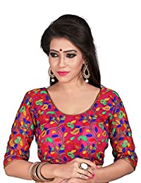 Indian Pakistani Designer Cotton NetMulti Color Readymade Blouse for Sarees