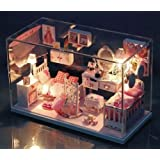 Dollhouse Miniature DIY Kit with Cover Romantic Pretty Princess Dream House Home for christmas gift