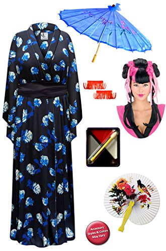 Costume Sash Geisha (Blue Rose Geisha Robe Plus Size Costume - Dlx Pnk/Couture Wig Kit)