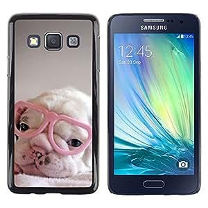 FlareStar Colour Printing Puppy Pink Cute Sweet Heart Glasses cáscara Funda Case Caso de plástico para Samsung Galaxy A3 / SM-A300