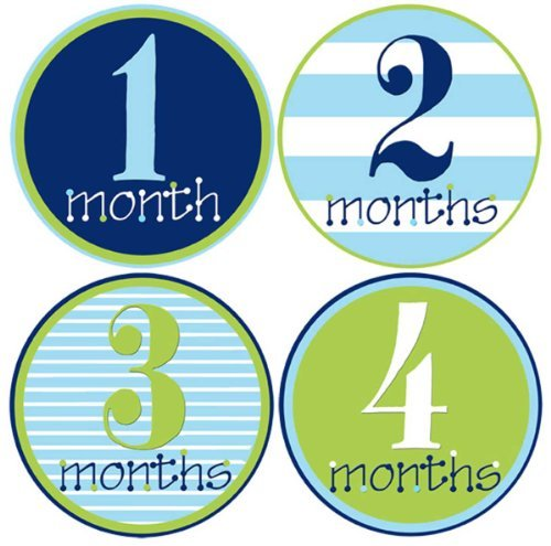 Mumsy Goose Baby Boy Monthly Stickers 1-12 Months Boy Bodysuit Stickers Newborn Photo Prop Nautical Boy Month Pictures by Mumsy Goose