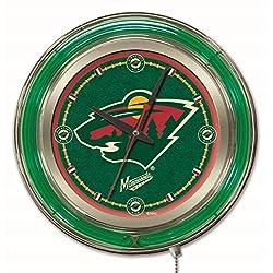 Minnesota Wild HBS Neon Green Hockey Battery Powered Wall Clock (15)