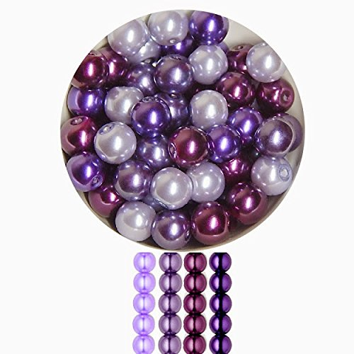 GLASS PEARL BEAD MIX CHOOSE SIZE AND COLOR FREE SHIPPING (6mm, Purple Passion)
