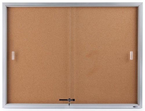 Displays2go 48 x 36 Inches Enclosed Bulletin Board for Wall Mount - Silver Aluminum Frame (Sliding Door Cork Board)