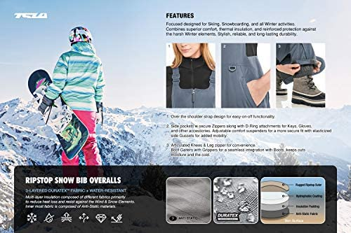 TSLA Women's Winter Snow Bibs, Waterproof Insulated Snowboard Overalls, Ripstop Ski Pants