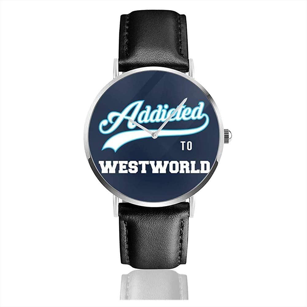 Adicto a Westworld Baseball Font Watches Reloj de Cuero de Cuarzo con Correa de Cuero Negra para Regalo de colección