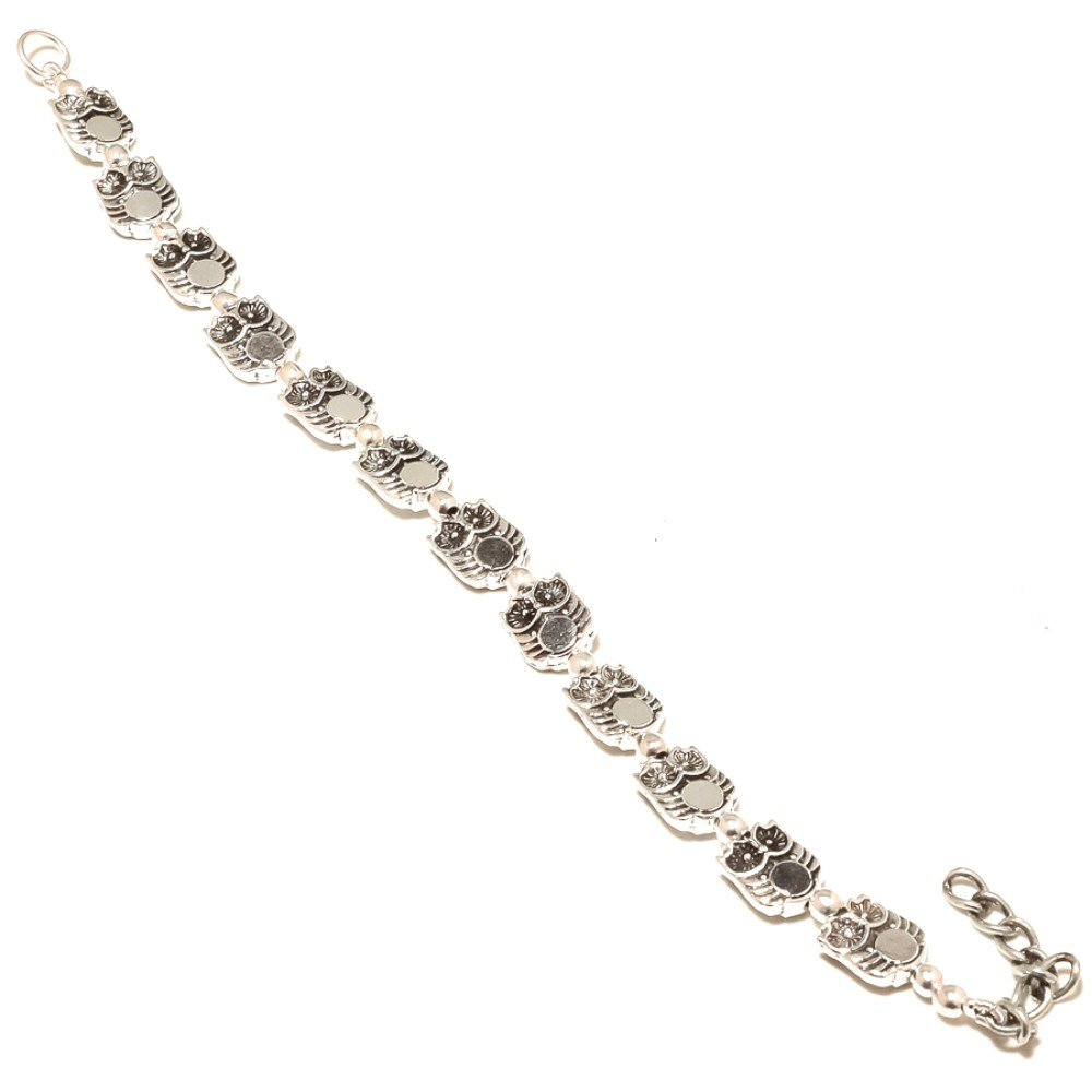 Ancient Style Silver Plan Beads Sterling Silver Overlay 12 Grams Bracelet 7-9 Long