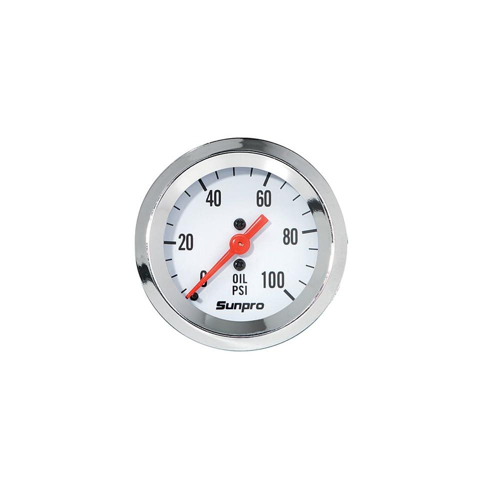 Sunpro CP8206 StyleLine Mechanical Oil Pressure Gauge   White Dial