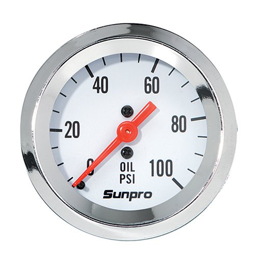 (Sunpro CP8206 StyleLine Mechanical Oil Pressure Gauge - White Dial)