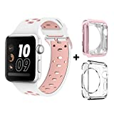 Bands for Apple Watch 38mm, Alritz Silicone Sport Straps Replacement Wristband Bracelet with Quick Release Buckle for Apple Watch Nike+, Series 2, Series 1, Sport, Edition, White & Pink