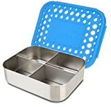 LunchBots Quad Stainless Steel Food Container - Four Section Design Perfect for Healthy Snacks, Sides, or Finger Foods On the Go - Eco-Friendly, Dishwasher Safe and BPA-Free - Royal Dots