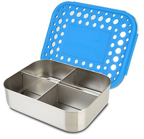 Section Four (LunchBots Quad Stainless Steel Food Container - Four Section Design Perfect for Healthy Snacks, Sides, or Finger Foods On the Go - Eco-Friendly, Dishwasher Safe and BPA-Free - Royal Dots)