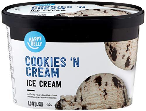 Amazon Brand - Happy Belly Cookies 'N Cream Ice Cream, 48 Fl Oz (Frozen)